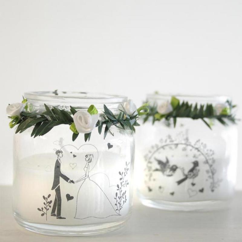 Elfen Shop 2er Set Hochzeitskerze Im Glas